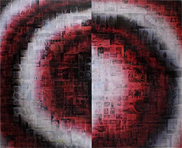 Pascal Dombis: Google_RedBlackWhite_West/East (Eurasia), 220 x 180 cm (2 panels), Lenticular mounted on alu-dibon